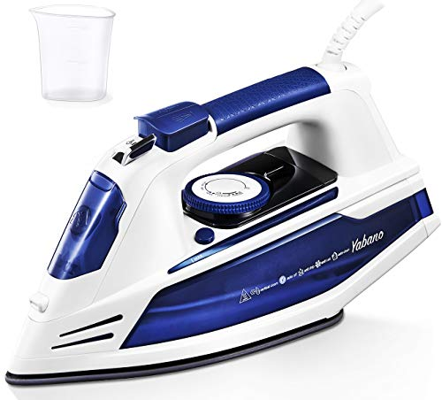 Yabano Steam Iron, Professional Iron for Clothes with Non-Stick Soleplate, Anti-Drip, 3 Way Auto-Off, Anti-Calc, Variable Temperature and Steam Control, Axial Aligned Steam Holes, Lightweight