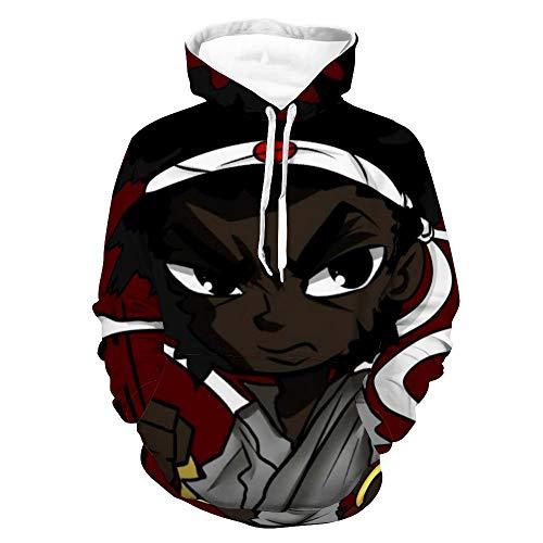 Samurai Afro & Ninja Ninja 3D Printed Hoodie Yoga Pullover Men and Women Activity Hoodies XL