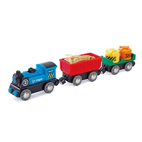 Hape Battery Powered Engine Set   Colorful Wooden Train Set, Battery Operated Locomotive With Working Lamp