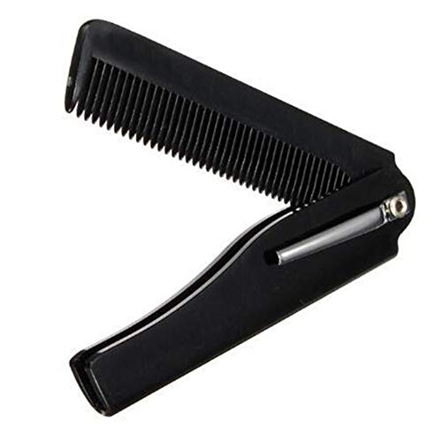Polytree Portable Folding Brush Comb for Men Hair, Beard, and Mustache Styling, Pocket sized for Easy Carry Black