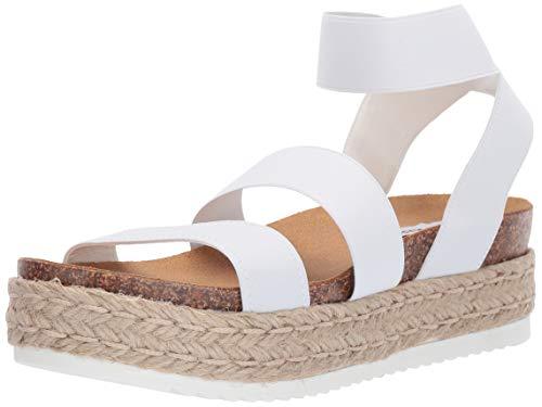 Steve Madden Women's Kimmie Wedge Sandal, White, 9 M US