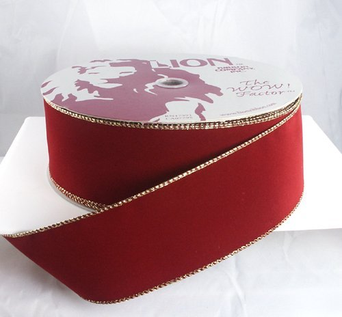 Wired Brick Red with Gold Edges Velvet Christmas Ribbon 2 1/2' #40-50 Yards