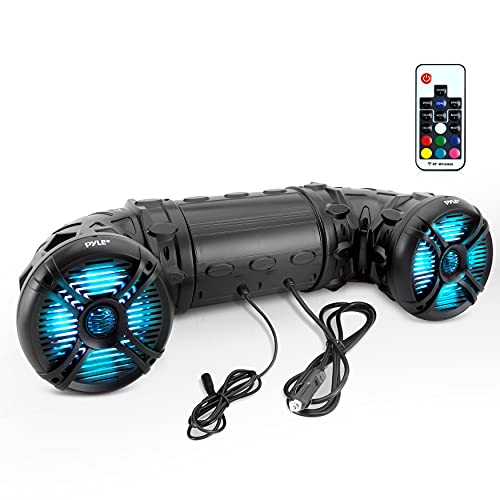 "Pyle Marine ATV Powered Speakers - 4.0 Wireless Bluetooth, 800 Watt, Color Changing LED Lights, IP44 Waterproof, 6.5"" Dual Audio Sound System for UTV, Golf Carts, Jetski and Snowmobile - PLATV65BT"