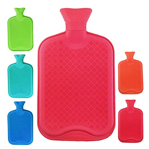 WTSHOP Premium Simple Rubber 2.5L Hot Water Bag(Random Color),Great for Pain Relief,Hot and Cold Therapy,Natural Rubber BPA Free- Durable Hot Water Bottle