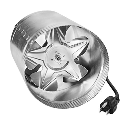 iPower GLFANXBOOSTER6-a 6 Inch 240 CFM Inline Duct Vent Blower Booster Fan for HVAC Exhaust and Intake 5.5' Grounded Power Cord, Low Noise, 6'