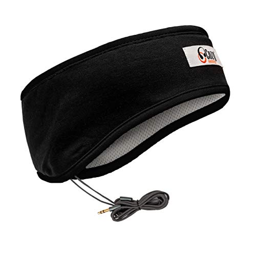 CozyPhones Over the Ear Headband Headphones - Sleep Headphones & Travel Bag, Headband Earphones with Lycra Cool Mesh Lining and Thin Speakers - Black