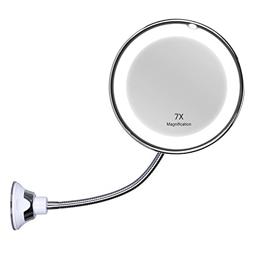 KEDSUM Flexible Gooseneck 6.8' 7X Magnifying LED Lighted Makeup Mirror,Bathroom Magnification Vanity Mirror with Suction Cup, 360 Degree Swivel,Daylight,Battery Operated,Cordless & Travel Mirror
