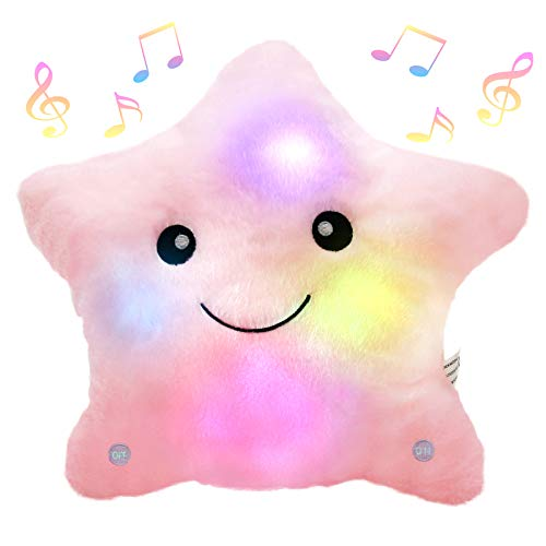 Bstaofy Animated Musical Glow Twinkle Star Creative Lullaby LED Stuffed Toys Accompany Kids at Night Singing Christmas for Girls Toddlers, Pink