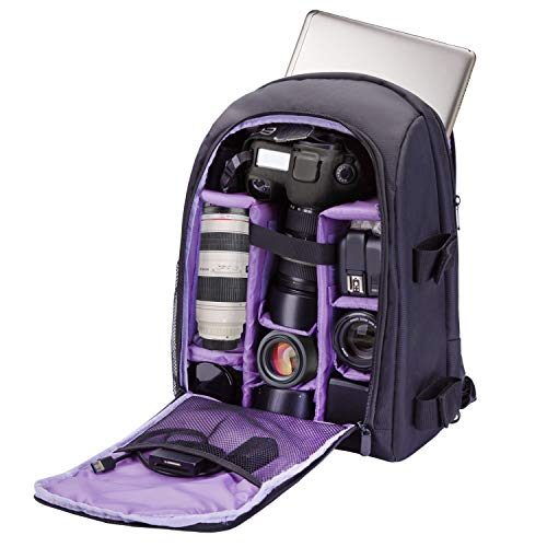 G-raphy Camera Backpack Photography Backpack Waterproof with Laptop Compartment/Tripod Holder for DSLR SLR Cameras (Purple)