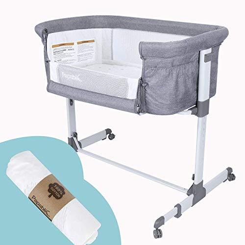 Papablic 2-in-1 Bonni Baby Bassinet & Bedside Sleeper, Bundle with Waterproof Fitted Sheet