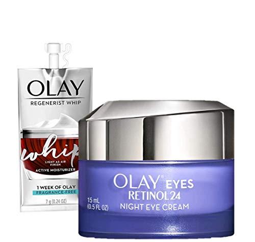 Olay Regenerist Retinol Eye Cream, Retinol 24 Night Eye Cream, 0.5oz + Whip Face Moisturizer Travel/Trial Size Bundle