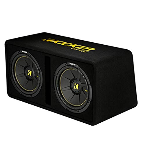 Kicker 44DCWC102 CompC Dual 10 Inch 1200 Watt Single 2 Ohm Terminal Compact Vented Loaded Subwoofer Enclosure for Trunks or SUV, Black