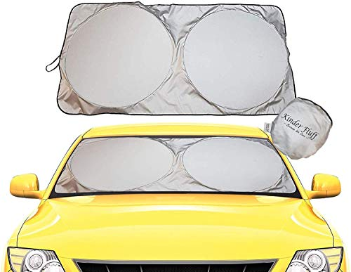 kinder Fluff Windshield Sun Shade - 210T Fabric Highest in The Market for Maximum UV and Sun Protection -Foldable Sunshade for car Windshield Will Keep Your car Cooler- Windshield Sunshade (XL)