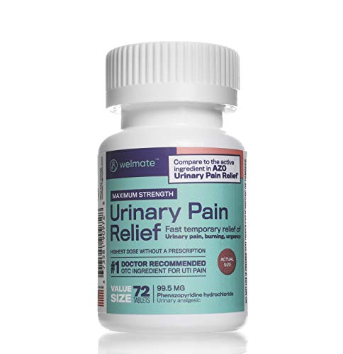 Welmate Urinary Pain Relief | Phenazopyridine Hydrochloride 99.5 mg | 72 Count Tablets