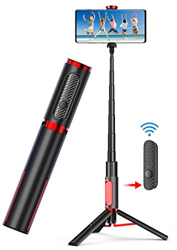 Phone Tripod,Tripod for iPhone Selfie Stick - All in One Extendable Cellphone Tripod with Bluetooth Remote for Android Phones & iPhone 11 Xs Plus 6/7/8 Lightweight Aluminum for Home & Travel