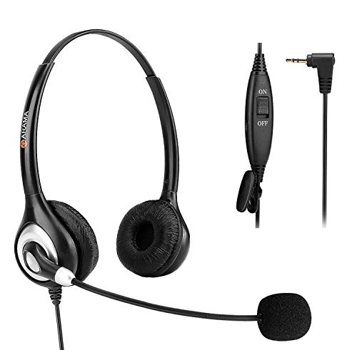 Phone Headset 2.5mm with Noise Canceling Mic & Mute Switch Ultra Comfort Telephone Headset for Panasonic AT&T Vtech Uniden Cisco Grandstream Polycom Cordless Phones