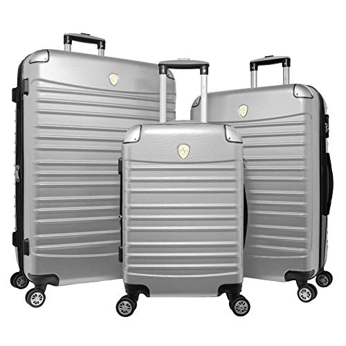 World Traveler Expedition 3-piece Hardside Spinner Luggage Set-Silver, One Size