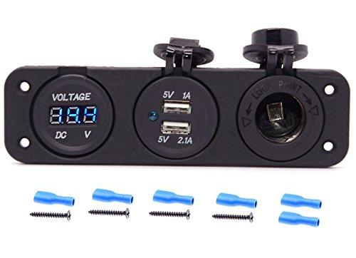 Cllena Triple Function Dual USB Charger + Blue LED Voltmeter + 12V Outlet Socket Panel Jack Marine for Digital Devices Mobile Phone Tablet