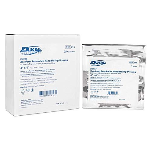 Dukal 215 Alba Xeroform Petrolatum Gauze, Sterile, 4 x 4 Inch (Pack of 25)