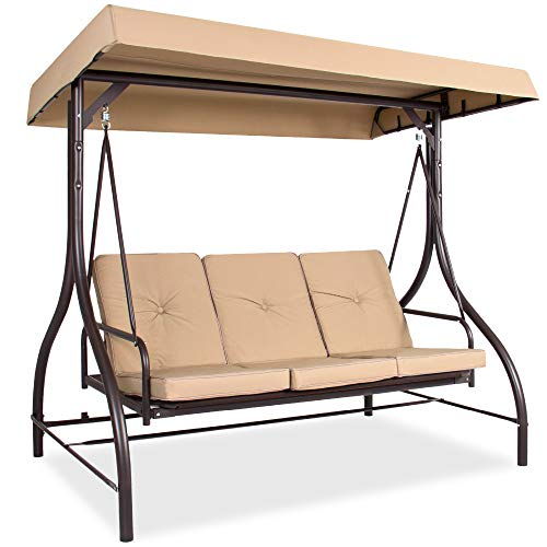 Best Choice Products 3-Seat Outdoor Large Converting Canopy Swing Glider, Patio Hammock Lounge Chair for Porch, Backyard w/Flatbed, Adjustable Shade, Removable Cushions - Tan