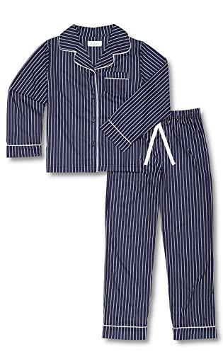 PajamaGram Big Boys' Pajamas Blue - Striped 2 Piece Pajamas for Kids, Navy, 10