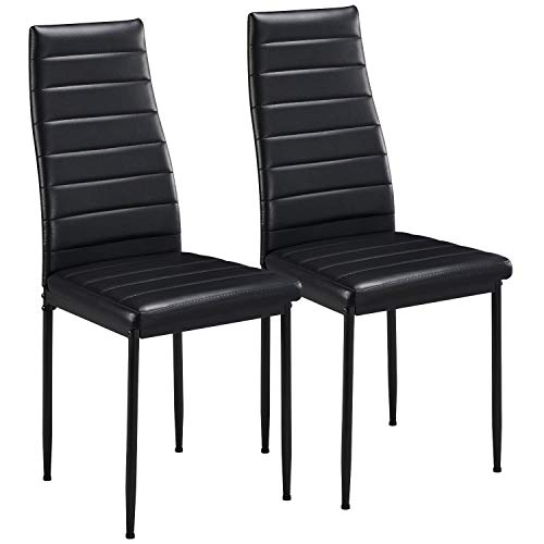 Yaheetech Dining Chairs Faux Leather Moderen Style Side Chair Metal Legs Kitchen High Back Elegant Design for Home Kitchen Furniture Set of 2, Black