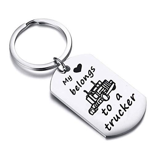 Zuo Bao Drive Safe Keychain My Heart Belongs to A Trucker Husband Keychain Gift for Truckers Wife Girlfriend (Keychain)