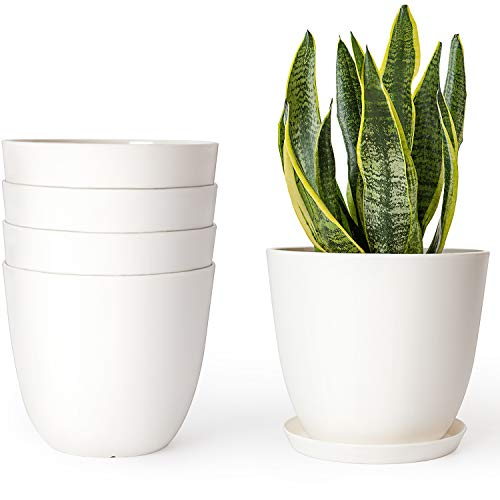 Mkono Plastic Planters Indoor Set of 5 Flower Plant Pots Modern Decorative Gardening Pot with Drainage and Saucer for All House Plants, Herbs, Foliage Plant, and Seeding Nursery, Cream White, 6.5'