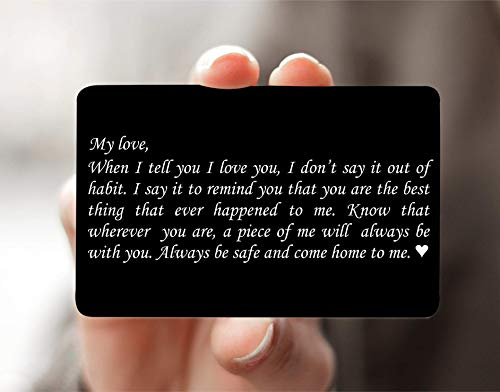 Engraved Wallet Card Love Note, Husband Gifts from Wife, Aluminum Anniversary Gifts for Husband, Engraved Boyfriend Gift Idea, Valentines Day, Deployment Mini Wallet Insert for Men - WC02