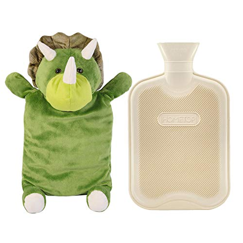 HomeTop Premium Classic Rubber Hot and Cold Water Bottle with Cute Stuffed Triceratops Cover (2L, White)