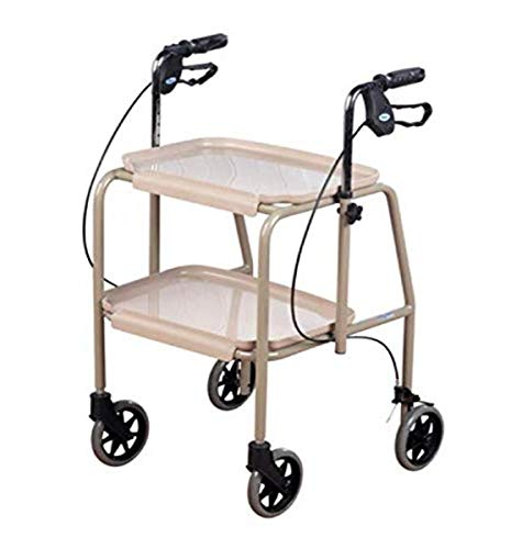 Homecraft-19823 Deluxe Walker Trolley, Mobility Aid with Built in Trays for Carrying Personal Items, Sturdy Walking Device with Hand Brakes to Control and Support, Shelves Have High Edges to Keep Objects On