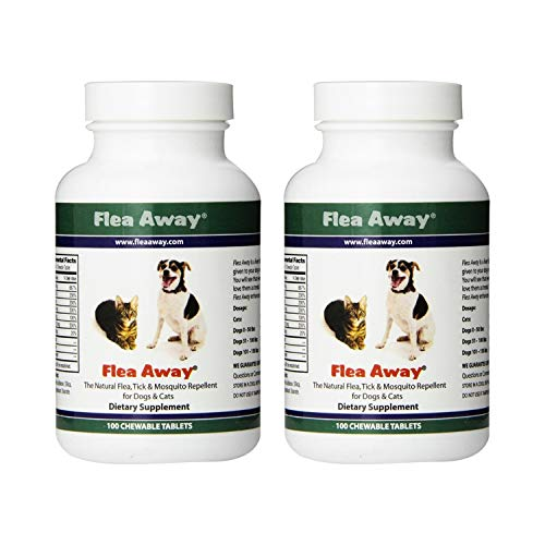 Flea Away All Natural Flea, Tick, and Mosquito Repellent for Dogs and Cats, 100 Chewable Tablets, 2 Pack