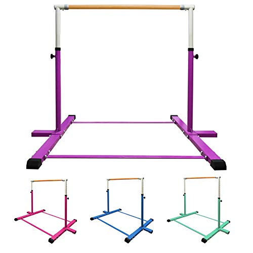 GLANT Gymnastic Kip Bar,Horizontal Bar for Kids Girls Junior,3' to 5' Adjustable Height,Home Gym Equipment,Ideal for Indoor and Home Training,1-4 Levels,300lbs Weight Capacity (Purple)