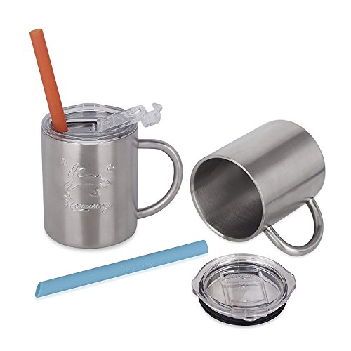 Housavvy Stainless Steel Kids Cups with Lids and Straws, 2 PACK of 10 OZ