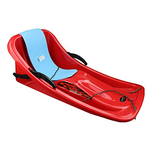 Guoyajf Winter Snow Sled,86cm Durable Downhill Sprinter Toboggan Snow Sled for Kids Boys Girls Adults with Brakes & Pulling Rope & Self-Heating Pad,Red