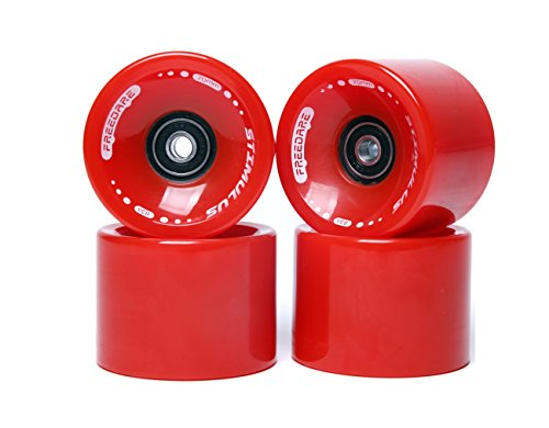 FREEDARE 70mm Longboard Wheels with ABEC-7 Bearings and Spacers(Red,Set of 4)