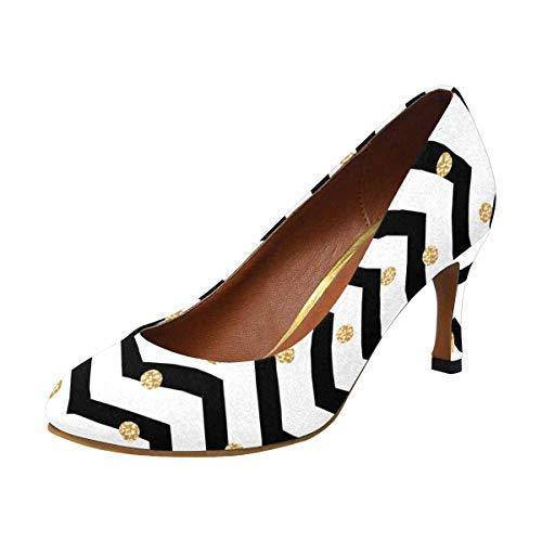INTERESTPRINT Polka Dot, Black and White Chevron Classic Dress Pumps Soft Walking High Heels US9