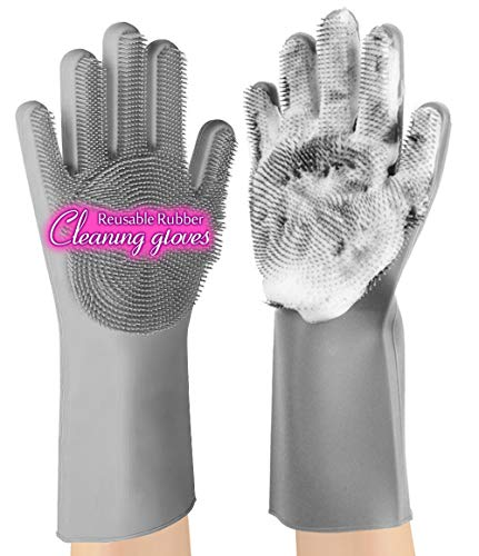 anzoee Reusable Silicone Dishwashing Gloves, Pair of Rubber Scrubbing Gloves for Dishes, Wash Cleaning Gloves with Sponge Scrubbers for Washing Kitchen, Bathroom, Car & More (Gray) …
