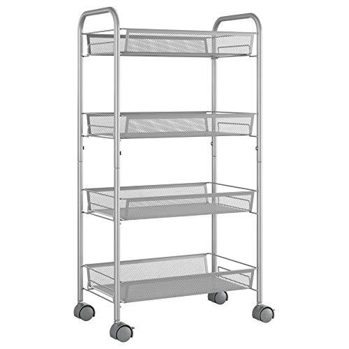 Homfa 4-Tier Mesh Wire Rolling Cart Multifunction Utility Cart Kitchen Storage Cart on Wheels, Steel Wire Basket Shelving Trolley,Easy Moving,Silver