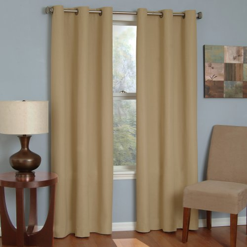 ECLIPSE Microfiber Thermal Insulated Single Panel Grommet Top Darkening Curtains for Living Room, 42' x 84', Beige
