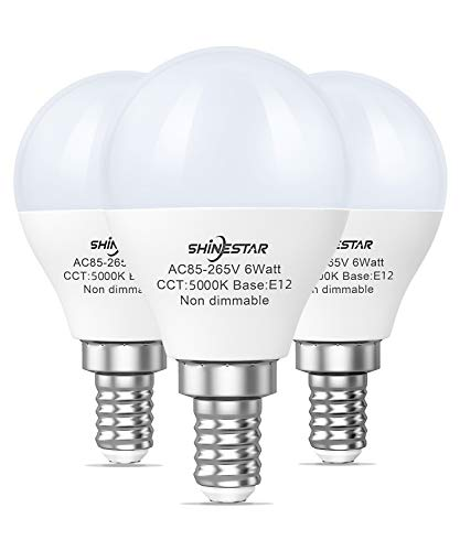3-Pack Ceiling Fan Light Bulbs 60watt Equivalent, 5000K Daylight A15 E12 LED Bulb with Candelabra Base, Small Round Light Bulb for Vanity, Non-dimmable