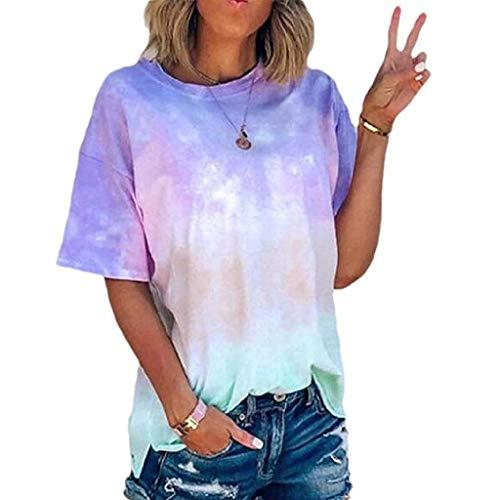 Women's Colorblock Tie Dye Sweatshirts Long Sleeve Crewneck Oversized Shirts Casual Loose Pullover Tops Chaofanjiancai