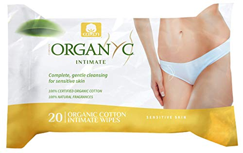 Organyc 100% Organic Cotton Intimate Wet Wipes, No Parabens, Alcohol, or Chlorine, 20 Count