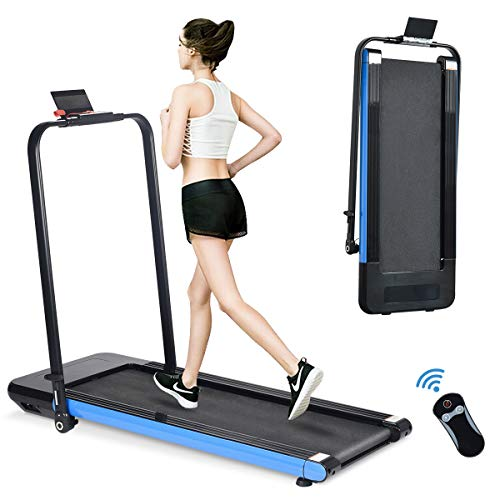 BiFanuo 2 in 1 Folding Treadmill, Smart Walking Running Machine with Bluetooth Audio Speakers, Installation-Free,Under Desk Treadmill for Home/Office Gym Cardio Fitness… (Blue)