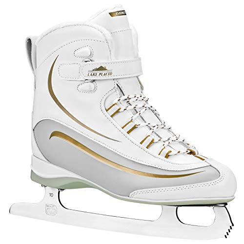 Lake Placid Everest Women's Soft Boot Figure Ice Skate, White/Gold, Size 7
