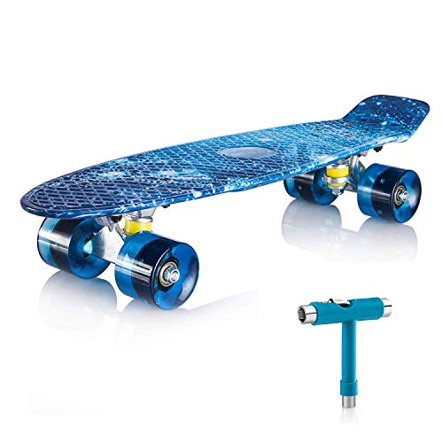 Newdora 22' Skateboard, Skateboard Cruiser with Colorful LED Light Up Wheels for Youths, Boys, Beginners with Gift Box (Galaxy)