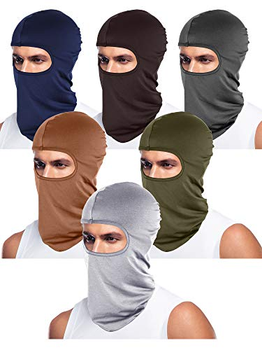 6 Pieces Unisex Balaclava Full Face Mask Winter Windproof Ski Mask (Navy Blue, Coffee, Grey, Army Green, Light Grey, Brown)