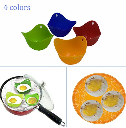 LiXiongBao 4 Pack Silicone Egg Poaching Cups,Poaching Pods For Microwave or Stovetop Egg Cooking