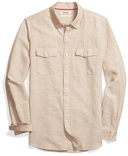 Amazon Brand - Goodthreads Men's Slim-Fit Long-Sleeve Linen and Cotton Blend Shirt, Khaki, Large