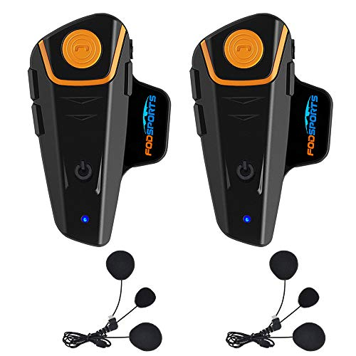 Fodsports BT-S2 Motorcycle Bluetooth intercom Off-Road Motorbike Intercom Helmet Bluetooth Headset 1000M Bluetooth Motorcycle Communication System, Hands-Free, FM, MP3 (2 Pack Soft mic)